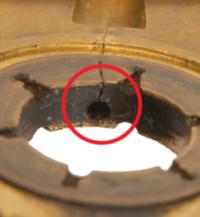 GT15-holecrack_close-up hidden dangers turbocharger failures
