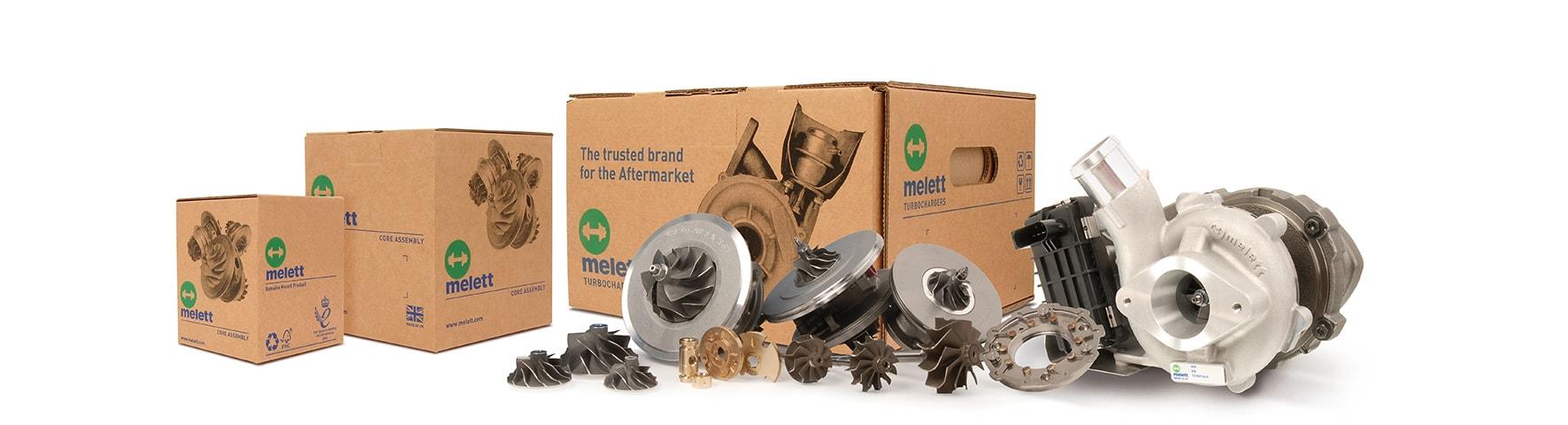Melett's product range: complete turbochargers, CHRA & other